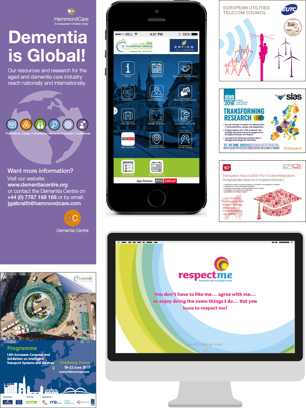 Examples of print, mobile and web apps and websites we have done